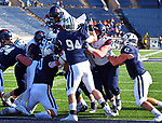 October 26th 2019: Abe Willows [2] crosses the goal line but the Bulldogs of Yale up their record to 5-1 defeating the Quakers of Penn 46-41.  The Ivy League match up was at the Yale bowl in New Haven, Connecticut.  Dan Heary/ESW/CSM