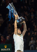 Grigor Dimitrov (BUL) lifts the ATP Finals Trophy after his win over David Goffin (BEL).  Nitto ATP Finals Tennis Championships, O2 Arena London, England,19th November 2017.