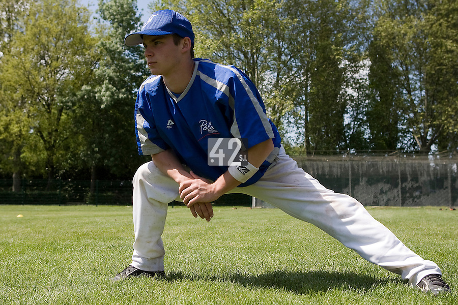 30 April 2008: Yohan Bret warms up during the first of seven 2008 MLB European Academy Try-out Sessions throughout Europe, at Stade Kandy Nelson Ball Park, in Toulouse, France. Try-out sessions are run by members of the Major League Baseball Scouting Bureau with assistance from MLBI staff.