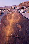 Rock art painted with light to emphasize the design at dusk, Grimes Point, Nevada, along U.S. 50