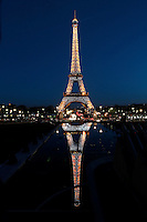 Eiffel Tower, March 31, 1889 (Universal Exhibition in celebration of the French Revolution), Alexandre Gustave Eiffel (1832-1923), 324 meters high, 10,100 tons, 18,038 pieces, 2,500,000 rivets, 1665 steps, seen on January 16, 2011 at night, Paris, France. Picture by Manuel Cohen
