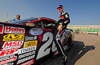 Sept. 27, 2008; Kansas City, KS, USA; NASCAR Nationwide Series driver Joey Logano during qualifying prior to the Kansas Lottery 300 at Kansas Speedway. Mandatory Credit: Mark J. Rebilas-