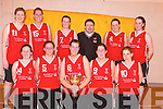 CHAMPIONS: St Mary's Ladies Basketball Team who won the Mustang Sally Cup in the Senior Ladies Championship at Mercy Mounthawk Gym, Tralee, on Sunday. Front l-r: Stacey O'Sullivan, Noelle Scanlan, Maire Walsh, Tracey O'Sullivan and Louise Galvin. Back l-r: Reidin OLoughlin, Dara Barrett, Jackie Hartnett, Tommy O'Connor (Coach) Christina Fleming and Tracey Hartnett..