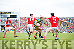 James O'Donoghue Kerry in action against James Loughrey Cork in the Munster Senior Football Final at Fitzgerald Stadium on Sunday.