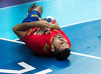 08 AUG 2012 - LONDON, GBR - Jorge Maqueda Pena (ESP) of Spain waits for treatment during the men's London 2012 Olympic Games quarter final match against France at the Basketball Arena in the Olympic Park, in Stratford, London, Great Britain .(PHOTO (C) 2012 NIGEL FARROW)