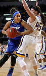 SIOUX FALLS, SD - MARCH 5:  Keanna Gary #40 from IPFW looks to get a step around Ellie Thompson #45 from South Dakota State during the Summit League Basketball Championship Saturday in Sioux Falls.  (Photo by Dave Eggen/Inertia)