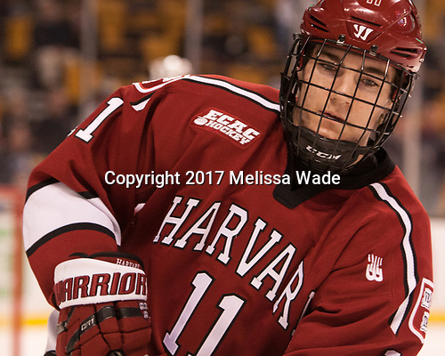 Ty Pelton-Byce (Harvard - 11) - The Harvard University Crimson defeated the Boston University Terriers 6-3 (EN) to win the 2017 Beanpot on Monday, February 13, 2017, at TD Garden in Boston, Massachusetts.