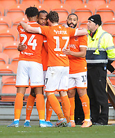 Blackpool's Nathan Delfouneso celebrates scoring his side's third goal with team-mates<br /> <br /> Photographer Kevin Barnes/CameraSport<br /> <br /> Emirates FA Cup Second Round - Blackpool v Maidstone United - Sunday 1st December 2019 - Bloomfield Road - Blackpool<br />  <br /> World Copyright © 2019 CameraSport. All rights reserved. 43 Linden Ave. Countesthorpe. Leicester. England. LE8 5PG - Tel: +44 (0) 116 277 4147 - admin@camerasport.com - www.camerasport.com