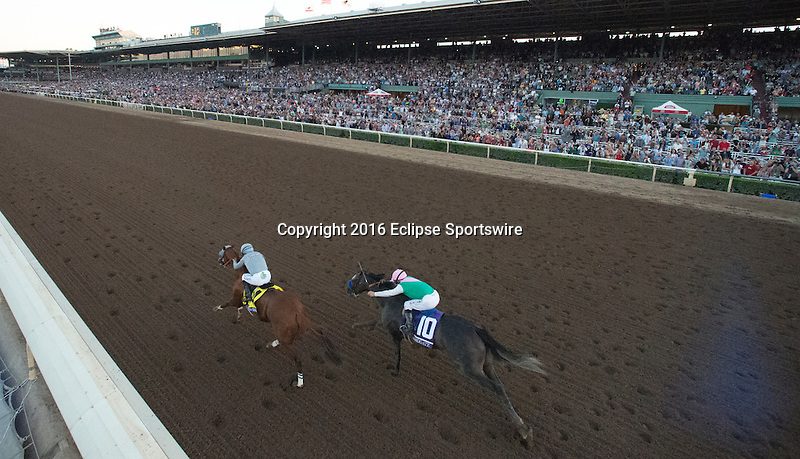 ARCADIA, CA - NOVEMBER 5: California Chrome #4, ridden by Victor Espinoza, leads Arrogate #10, ridden by Mike Smith, in the Breeders' Cup Classic during day two of the 2016 Breeders' Cup World Championships at Santa Anita Park on November 5, 2016 in Arcadia, California. (Photo by Alex Evers/Eclipse Sportswire/Breeders Cup)