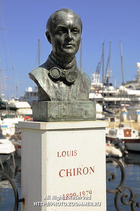 Statue to Louis Chiron, Grand Prix driver. Monaco harbor.