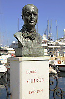 Statue to Louis Chiron, Grand Prix driver. Monaco harbor.