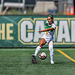 1 September 2019: University of Vermont Catamount Forward/Midfielder Alyssa Oviedo, a Sophomore from Clifton, NJ, in action against the Merrimack College Warriors in Game 3 of the TD Bank Women's Soccer Classic at Virtue Field in Burlington, Vermont. The Lady Warriors rallied in the second half to defeat the Catamounts 2-1. Mandatory Credit: Ed Wolfstein Photo *** RAW (NEF) Image File Available ***