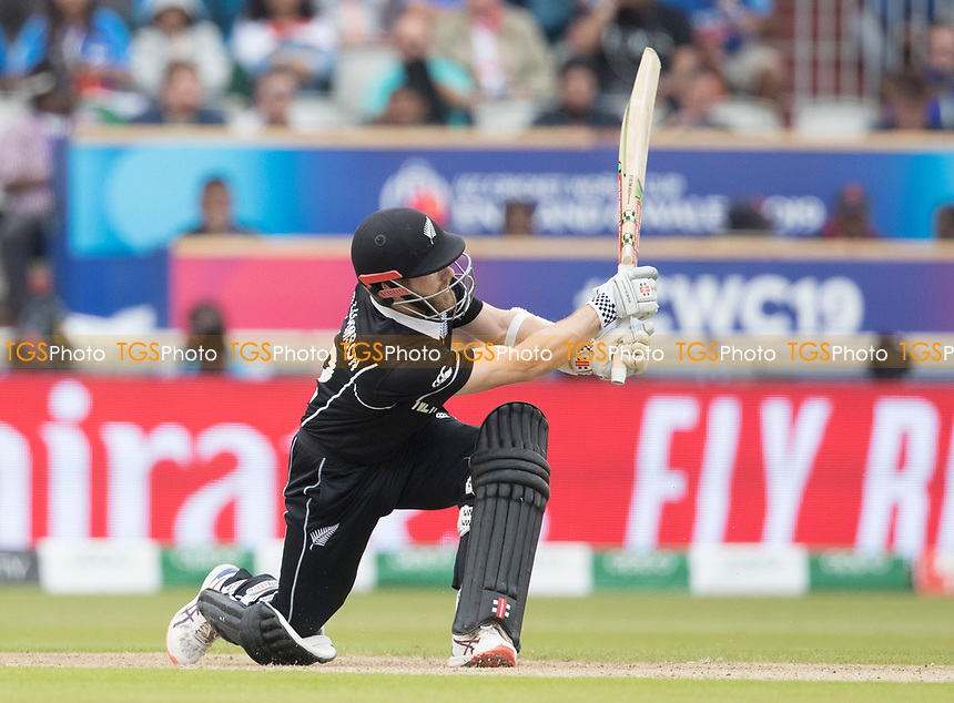 Kane Williamson (New Zealand) hoists over mid wicket for four during India vs New Zealand, ICC World Cup Semi-Final Cricket at Old Trafford on 9th July 2019