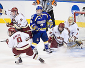 Barry Almeida (BC - 9), Brian Dumoulin (BC - 2), Andy Taranto (Alaska-Fairbanks - 29), Edwin Shea (BC - 8), John Muse (BC - 1) - The Boston College Eagles defeated the University of Alaska-Fairbanks Nanooks 3-1 (EN) in their NCAA Northeast Regional semi-final on Saturday, March 27, 2010, at the DCU Center in Worcester, Massachusetts.