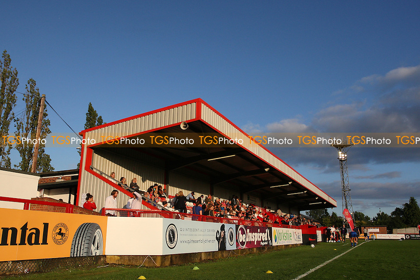 The main stand at Boreham Wood Football Club - Arsenal Ladies vs Lincoln Ladies - FA Women's Super League Football at Boreham Wood FC - 04/08/11 - MANDATORY CREDIT: Gavin Ellis/TGSPHOTO - Self billing applies where appropriate - 0845 094 6026 - contact@tgsphoto.co.uk - NO UNPAID USE.