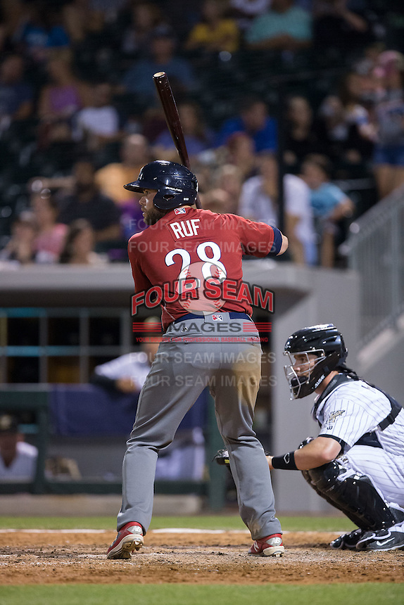 Darin Ruf (28) of the Lehigh Valley Iron Pigs at bat against the Charlotte Knights at BB&T BallPark on June 3, 2016 in Charlotte, North Carolina.  The Iron Pigs defeated the Knights 6-4.  (Brian Westerholt/Four Seam Images)
