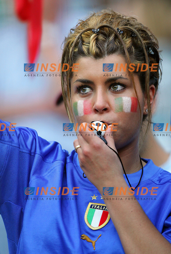 Hanover 12/6/2006 World Cup 2006.Italia Ghana 2-0.Photo Andrea Staccioli Insidefoto.Tifosa Italiana.Italy fan