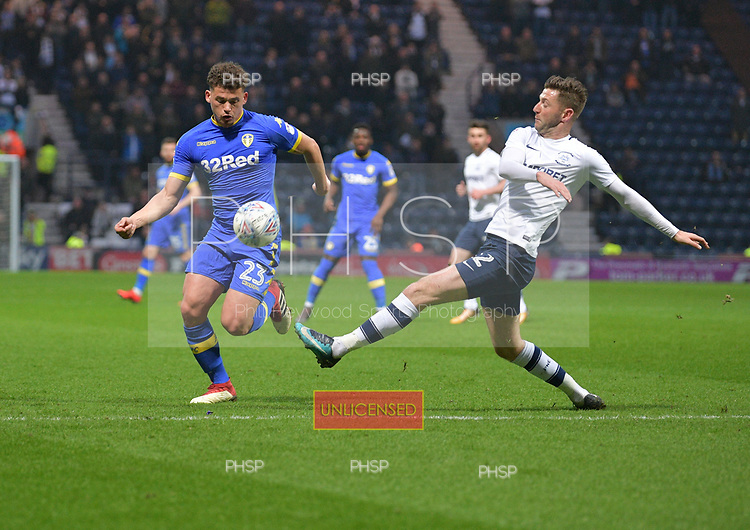 10/04/2018 Sky Bet League Championship Preston North End v Leeds United<br /> Kalvin Phillips avoids a challenge by Paul Gallagher