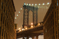 AVAILABLE FROM JEFF AS A FINE ART PRINT.<br /> <br /> AVAILABLE FOR COMMERCIAL AND EDITORIAL LICENSING FROM CORBIS.  Please go to www.corbis.com and search for image # 42-20926428.<br /> <br /> Upward View of the Manhattan Bridge on an Overcast Night, Viewed from the DUMBO neighborhood of Brooklyn, New York City, New York State, USA