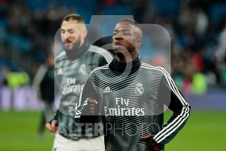 Real Madrid's Vinicius Jr. during La Liga match between Real Madrid and Real Sociedad at Santiago Bernabeu Stadium in Madrid, Spain. January 06, 2019. (ALTERPHOTOS/A. Perez Meca)<br />  (ALTERPHOTOS/A. Perez Meca)