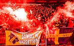 Stockholm 2014-04-16 Fotboll Allsvenskan Djurg&aring;rdens IF - AIK :  <br /> AIK supportrar med bengalisk eld<br /> (Foto: Kenta J&ouml;nsson) Nyckelord:  Djurg&aring;rden DIF Tele2 Arena AIK supporter fans publik supporters bengaler