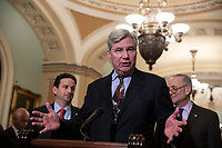 Senator Sheldon Whitehouse, Democrat of Rhode Island, speaks during a press conference following a Democratic Caucus lunch on Capitol Hill in Washington, D.C. on March 12, 2019. <br /> CAP/MPI/RS<br /> &copy;RS/MPI/Capital Pictures