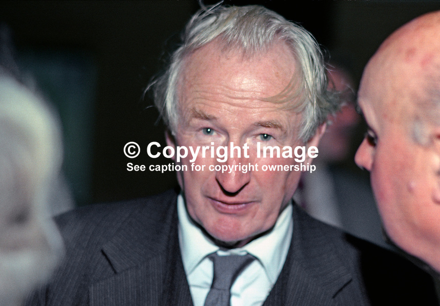 Sir Hector Laing, director, Exxon Corporation and Bank of England, pictured at annual conference, Conservative Party, UK, October 1990. He was knighted in 1978 and created a life peer, Baron Laing of Dunphail, on 8 February 1991. He is also a fellow of the Royal Society of Edinbutgh. 19901047HL<br /> <br /> Copyright Image from Victor Patterson, 54 Dorchester Park, Belfast, UK, BT9 6RJ<br /> <br /> t: +44 28 9066 1296<br /> m: +44 7802 353836<br /> vm +44 20 8816 7153<br /> <br /> e1: victorpatterson@me.com<br /> e2: victorpatterson@gmail.com<br /> <br /> www.victorpatterson.com<br /> <br /> IMPORTANT: Please see my Terms and Conditions of Use at www.victorpatterson.com