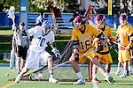 Rancho Santa Margarita, CA 04/30/10 - Bryce Cady (Torrey Pines #32), Mitchell Kingsley (Santa Margarita #10) and Chris Charter (Torrey Pines #16) in action during the Rancho Santa Margarita CHS-Torrey Pines boys varsity lacrosse game.