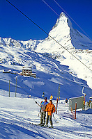 Switzerland, Valais, Zermatt, Skilift Riffelberg and  Matterhorn Mountain (4.478 m)