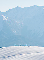 Germany, Bavaria, Upper Bavaria, Tegernseer Valley, at Wallberg mountain, 4 snowboarder looking for remote ski-runs