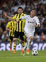 FUSSBALL  CHAMPIONS LEAGUE  HALBFINALE  RUECKSPIEL  2012/2013      Real Madrid - Borussia Dortmund                   30.04.2013 Cristiano Ronaldo (re, Real Madrid) gegen Ilkay Guendogan (li, Borussia Dortmund)