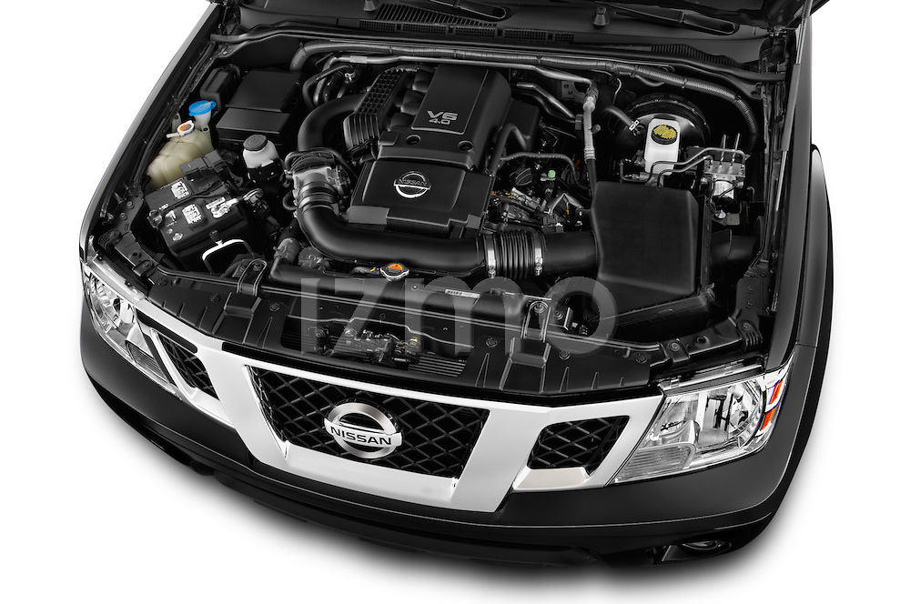 Car Stock 2016 Nissan Frontier PRO-4X-Crew-Cab 4 Door Pickup Engine  high angle detail view