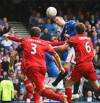 Kris Boyd heads wide in the dying seconds of the match
