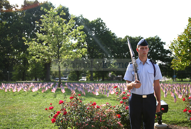 History sophomore Mark Roth participates as the rifleman for a Sept. 11 memorial put on by the UK ROTC Friday afternoon. Photo by Adam Wolffbrandt | Staff.