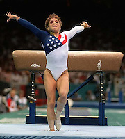 Kerri Strug's heroic vault on injured foot to secure gold medal for US team at Womens Team Gymnastics at the 1996 Summer Olympic Games<br />
