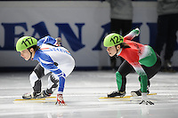 SCHAATSEN: DORDRECHT: Sportboulevard, Korean Air ISU World Cup Finale, 10-02-2012, Veronique Pierron FRA (117), Andrea Keszler HUN (124), ©foto: Martin de Jong