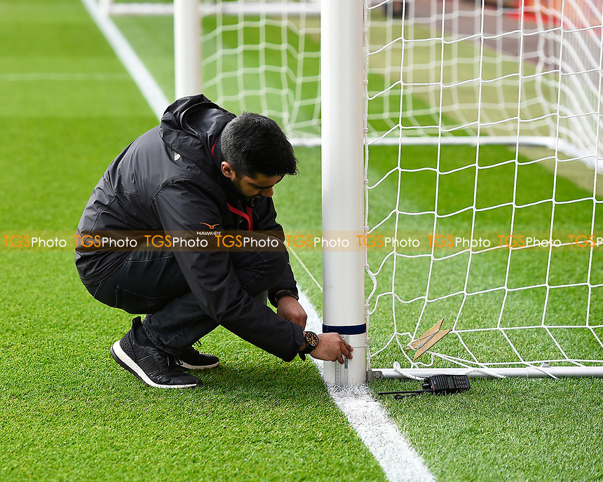 The goal line technology is set up during AFC Bournemouth vs West Ham United, Premier League Football at the Vitality Stadium on 11th March 2017