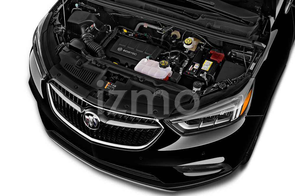 Car Stock 2019 Buick Encore Premium 5 Door Suv Engine  high angle detail view