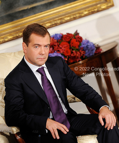 New York, NY - September 23, 2009 -- President Dmitri Medvedev of Russia looks on after  a bilateral meeting with United States President Barack Obama at the Waldorf Astoria on Wednesday, September 23, 2009 in New-York..Credit: Olivier Douliery - Pool via CNP