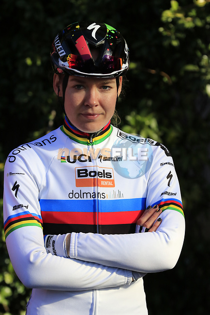 World Champion Anna Van der Breggen (NED) Boels Dolmans at sign on before the Strade Bianche Women Elite 2019 running 133km from Siena to Siena, held over the white gravel roads of Tuscany, Italy. 9th March 2019.<br /> Picture: Eoin Clarke | Cyclefile<br /> <br /> <br /> All photos usage must carry mandatory copyright credit (© Cyclefile | Eoin Clarke)