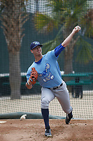 Wilmington Blue Rocks pitcher Foster Griffin (31) throwing in the bullpen before a game against the Myrtle Beach Pelicans at Ticketreturn Field at Pelicans Ballpark on April 25, 2017 in Myrtle Beach, South Carolina. Myrtle Beach defeated Wilmington 7-6. (Robert Gurganus/Four Seam Images)