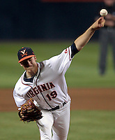 Virginia pitcher Nathan Kirby (19) throws the ball during the game against Arkansas Saturday night at Davenport Field in Charlottesville, VA. Photo/The Daily Progress/Andrew Shurtleff