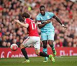 West Ham's Michail Antonio passes Daley Blind of Manchester United during the Emirates FA Cup match at Old Trafford. Photo credit should read: Philip Oldham/Sportimage
