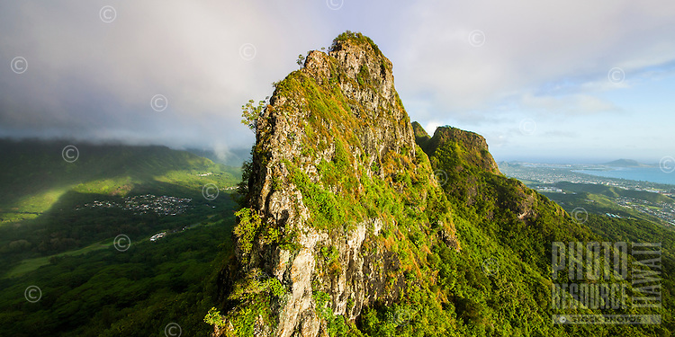 Mt. Olomana surrounded by Kailua, Windward O'ahu.