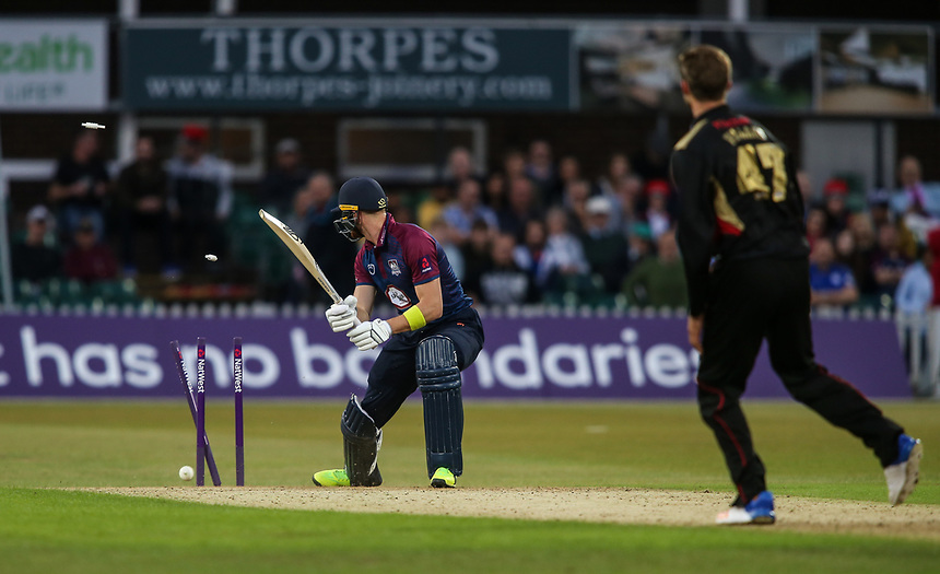 Northamptonshire's Rob Keogh is bowled by Leicestershire's Matt Pillans<br /> <br /> Photographer Andrew Kearns/CameraSport<br /> <br /> NatWest T20 Blast - Leicestershire Foxes vs Northamptonshire Steelbacks - Friday 21st July 2017 - Grace Road Leicester <br /> <br /> World Copyright &copy; 2017 CameraSport. All rights reserved. 43 Linden Ave. Countesthorpe. Leicester. England. LE8 5PG - Tel: +44 (0) 116 277 4147 - admin@camerasport.com - www.camerasport.com