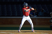 Dylan Allen (33) of the Liberty Flames at bat against the Wake Forest Demon Deacons at David F. Couch Ballpark on April 25, 2018 in  Winston-Salem, North Carolina.  The Demon Deacons defeated the Flames 8-7.  (Brian Westerholt/Four Seam Images)