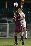 9 November 2007: Wake Forest's Amy Smerdzinski (right) wins a header over Florida State's Mami Yamaguchi (left). Florida State University defeated Wake Forest University 5-2  at the Disney Wide World of Sports complex in Orlando, FL in an Atlantic Coast Conference tournament semifinal match.