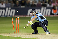 Joe Gatting of Sussex is bowled out by Graham Napier - Essex Eagles vs Sussex Sharks - Friends Life T20 Cricket at the Ford County Ground, Chelmsford, Essex - 28/06/12 - MANDATORY CREDIT: Gavin Ellis/TGSPHOTO - Self billing applies where appropriate - 0845 094 6026 - contact@tgsphoto.co.uk - NO UNPAID USE.
