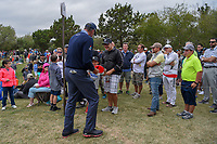 Matt Kuchar (USA) stops to sign an autograph for a young fan following Round 2 of the Valero Texas Open, AT&amp;T Oaks Course, TPC San Antonio, San Antonio, Texas, USA. 4/20/2018.<br /> Picture: Golffile | Ken Murray<br /> <br /> <br /> All photo usage must carry mandatory copyright credit (&copy; Golffile | Ken Murray)
