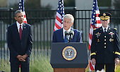 United States Secretary Chuck Hagel makes remarks as U.S. President Barack Obama and Chairman of of the Joint Chiefs of Staff General Martin Dempsey listen during the 12th anniversary commemoration of the 9/11 terrorist attacks at the Pentagon Memorial at the Pentagon in Washington, DC on September 11, 2013. Nearly 3,000 people were killed in the attacks in New York, Washington and Shanksville, Pennsylvania. <br /> Credit: Pat Benic / Pool via CNP